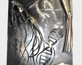 Forged and carved iron sculpture