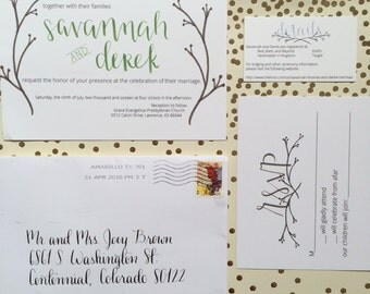 Brush-lettered Wedding Invitation Suite w/ Hand-Addressed Envelopes