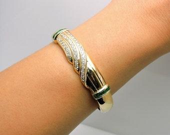 Vintage Lady's Yellow 14 Karat Bangle Bracelet With 39= Round I/J Si2 Diamonds