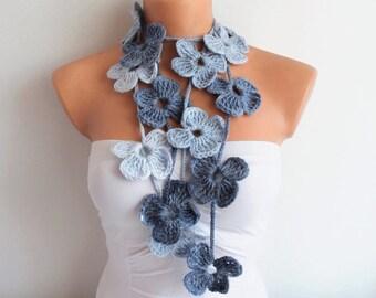 Blue Flower Scarf Hand Crochet Lariat Scarf