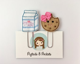 Felt Milk and Cookie Planner Paper Clip Set