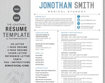 Resume Template CV Template For Word | Printable + Social Media Icons | The  JONATHAN Blue  Apple Pages Resume Template