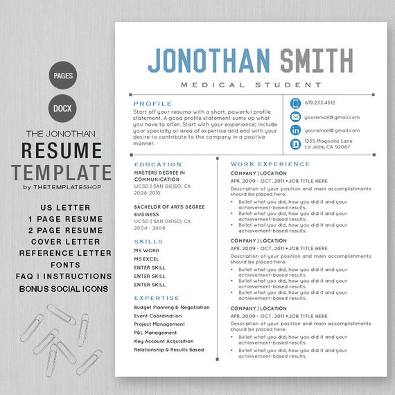 Resume Template CV Template For Word | Printable + Social Media Icons | The  JONATHAN Blue | Instant Download | Ms Word And Apple Pages  Resume Template Pages