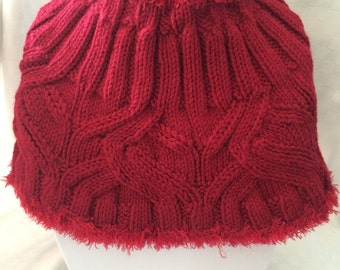 Hand Knit Cowl Infinity Red