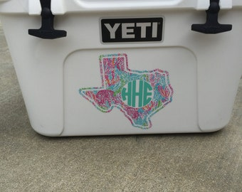"""Monogram Yeti Cooler Decal (approx. 6"""" tall)"""