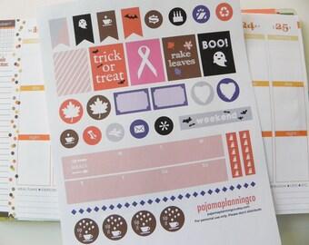 October Printable Stickers \\ INSTANT DOWNLOAD \\ For Erin Condren Planner, Plum Paper Planner, Kikki K, Filofax or scrapbook
