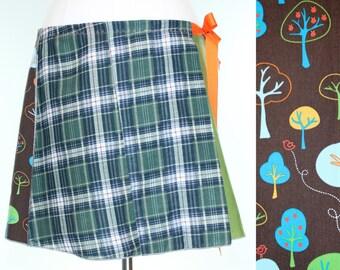 Plaid Mid Length Wrap Skirt- Woodland Midi Skirt- Summer Linen Circle Skirt- Upcycled Wrap Skirt- Repurposed Clothing- Charley Girl Designs