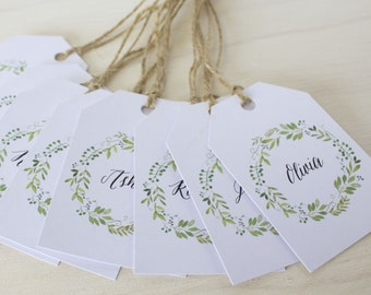 Guest Name Tags / Wedding Guest Tags / Place Card Tags / DIY Tags - Spring Green Wreath