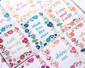 Motivation-Aufkleber, floral Zitat Aufkleber, Sticker, Scrapbook Erinnerung, volle Box Aufkleber Quadrat Sticker Eclp Filofax glücklich planner
