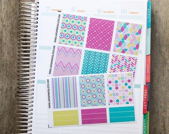 9 full box sticker, square sticker, planner stickers, geometric abstract notebook agenda journal eclp filofax happy planner
