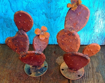 Baby Nopal Pair,Sculpture,Garden Sculpture,Southwestern Decor,Southwestern,Yard Art,Garden Art,Flowers,Desert,Garden Decor,Art,Recycled Art.