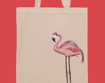 Flamingo tote bag / gift under 20 / market bag / pink bag / for her / hand painted/ Summer tote