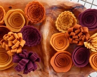 Autumn Wreath-Fall Felt Flowers-DIY Autumn Wreath-Fall Door Wreath-Wool Felt-Orange Gold Red Flowers-Flower Embellishments-DIY Fall Wreath
