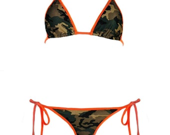 Camouflage Bikini Top w/ Orange, Hot Pink Red Trim - Sexy Army Girl Camo Triangle Bikini Top - Cute Camouflage Skimpy Trim Camo Top