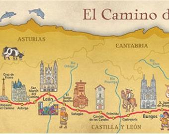 Camino de Santiago Way of Saint James Map Poster
