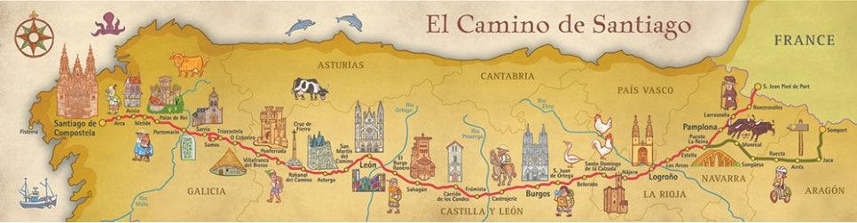 camino de santiago way of saint james map poster Camino De Santiago Map details camino de santiago way of saint james map poster camino de santiago map