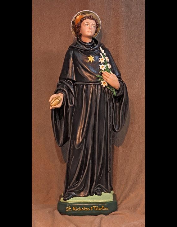 "St. Nicholas of Tolentine 26"" Catholic Christian Saints Religious Plaster Statue"
