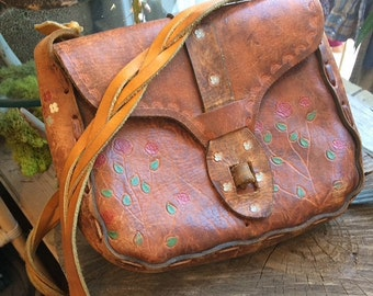 Vintage, Seventies Leather, hand stitched, hand painted, emmbossed purse with braided strap. So good!