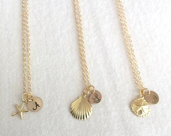 Personalised Starfish Necklace, Seashell Necklace, Sand Dollar Necklace, Initial Gold Disc, Dainty Necklace, Beach Necklace, StampedEve