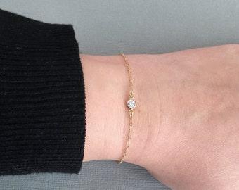 Delicate Gold CZ Bracelet, Silver CZ Bracelet, Dainty CZ Bracelet, Baby Bracelet, Child Bracelet, Dainty Bracelet, Minimalist Bracelet
