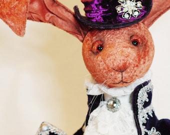 Sir Velvetoff - rabbit in 17th century costume plush stuffed animal bunny interior doll