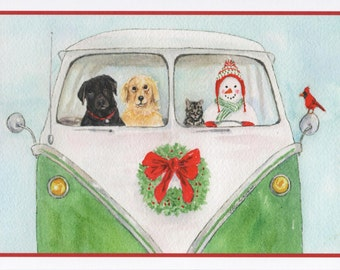 Christmas Card of Snowman, Dogs, Cat, and Bird in a Classic Micro-Bus.  Pet Christmas Cards  StellaJaneCards