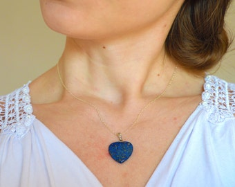 Lapis heart necklace, Lapis lazuli necklace, Lapis necklace, Heart necklace, Blue lapis necklace, Gemstone necklace, Love necklace