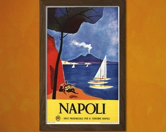 Italy Travel Print 1960 - Vintage Travel Prints Napoli Poster Travel Wall Art Retro Travel Poster Vintage Prints    bpt