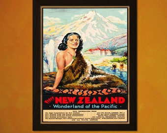 New Zealand Travel Print 1935 - Vintage Travel Poster New Zealand Poster Travel Decor Gift Idea New Zealand Prints
