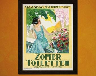 Zomer Toiletten 1924 - Vintage Fashion Arts Retro Fashion Illustration Feminine Poster Fashion Wall Fashion Print Art  t