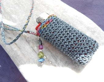 Lighter case necklace - lighter holder in denim blue with multicolored lurex, Gems & Silver - crochet lighter pouch -  gift idea for smokers