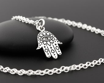Sterling Silver Hamsa Necklace with Evil Eye, Hamsa Hand Necklace, Evil Eye Necklace Silver, Dainty Evil Eye Necklace, Hand of Fatima