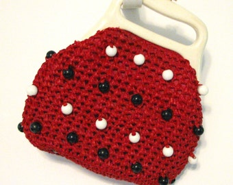 Vintage 4th July Purse Red Blue and White Beaded Raffia Patriotic Purse Fourth of July