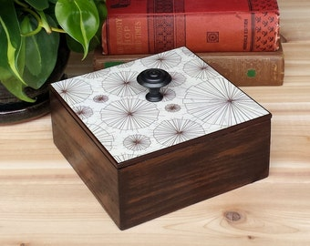 Wood Box with Lid, Stylized Umbrellas Print, Decoupaged Lid with Knob........Free US Shipping