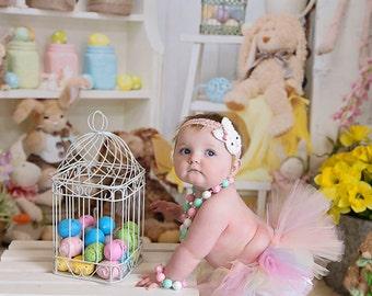 Easter Tutu, Tutus, Baby tutu, Optional Easter Tutu set with headband, Pastels Tutu, Easter Bunny Headband and Tutu Set, Elastic Waist