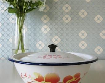 Vintage Enamel Bowl with Lid by Bumper Harvest with Floral Design 60s