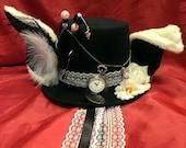 The White Rabbit Alice in Wonderland Steampunk Mad Hatter Wool/Felt Black Top Hat Tea Party Halloween Real Pocket Watch