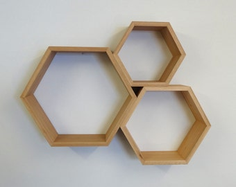 Hexagon Wooden Shelf Set // Blackbutt