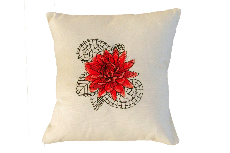 Decorative Flower Pillows : Decorative Flower Pillow Cover-Throw Pillow Cover-Boho Pillow
