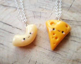 Mac and cheese friendship necklace, best friend necklace, bff necklace, best friend keychain, friendship necklace, kawaii necklace