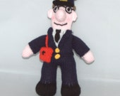 Postman Pat knitted doll, approx 25cm tall