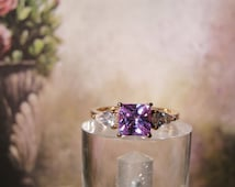 1990s French Lavender CZ Square Cut Diamond with 2 Pear Shaped CZ Diamond Accents with Vermeil Rose Gold over Sterling Silver Ring