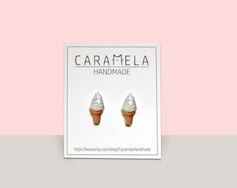 Ice cream stud earrings Sweet earrings Girl earrings Food earrings Ice cream post earrings Gift idea