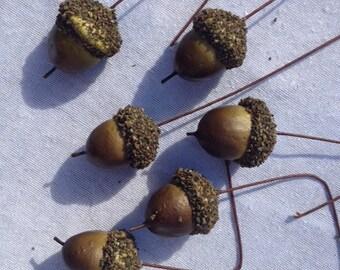 6 Artificial Acorns Craft Acorns Scrapbooking Embellishments