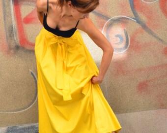 Long Cotton Skirt/ Maxi Skirt with Ribbon Belt/ Free returns