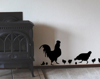 Chicken, Rooster, Chicks, and Eggs Country Removable Wall Decal