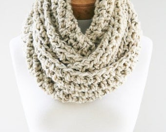 Cozy Wool Scarf, Chunky Infinity Scarf, Large Crocheted Scarf, Handmade Scarf, Womens Scarf, Chunky Knit Infinity