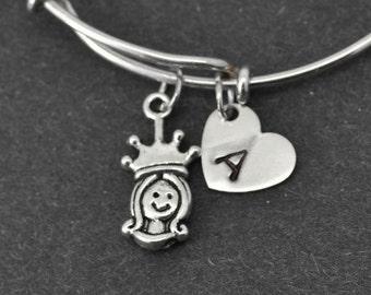 Princess Bangle, Sterling Silver Bangle, Princess Bracelet, Personalized Bracelet, Charm Bangle, Initial Bracelet, Bridesmaid Gift, Monogram