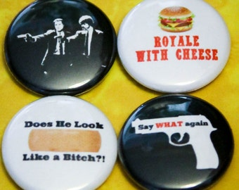 "Pulp Fiction Set of 4 - 1"" Pinback Buttons"