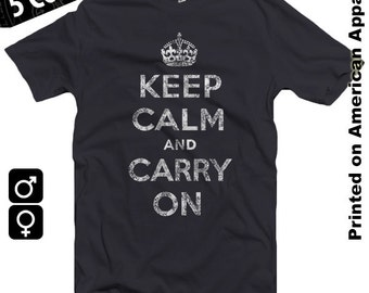 Distressed/Grunge Keep Calm and Carry On American Apparel T-shirt S-XXL Men/Women KCCO, WW2, WWII, British Poster, Cult, Cool Gift!